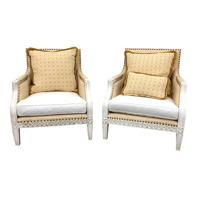 Oly Studio Tobias Upholstered in Raffia Chairs - a Pair For Sale