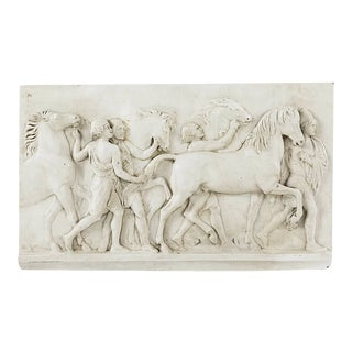 Classical Wall Hanging Relief Panel of Wild Horses For Sale