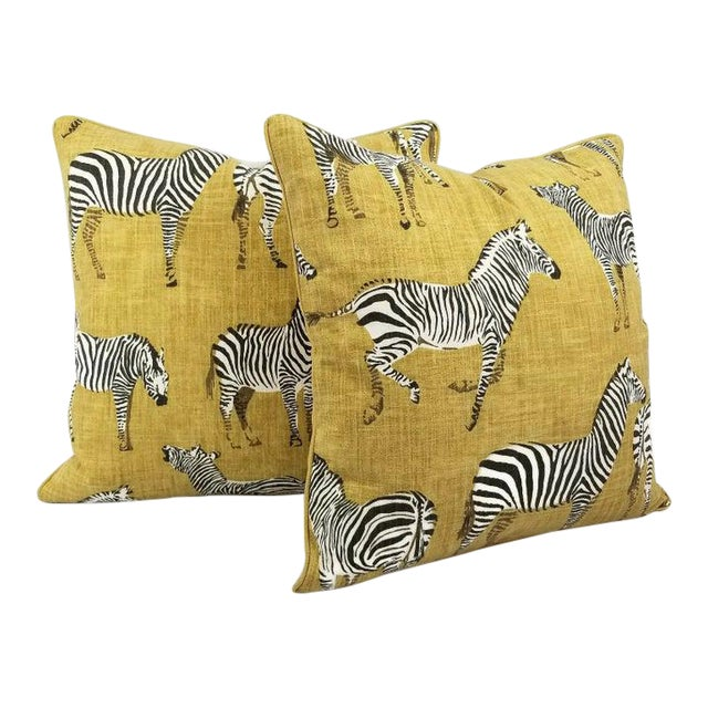 """Home Accents Ronnie Gold Africana in Gold Cotton Zebra Print Pillow Covers - a Pair, 20"""" X 20"""" For Sale"""
