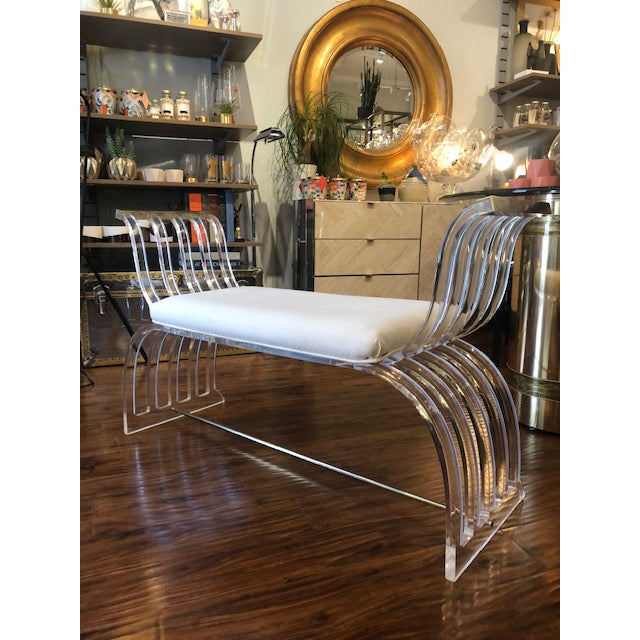 Traditional Vintage Hill Manufacturing Lucite Bench For Sale - Image 3 of 8