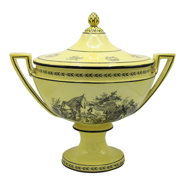 Large Mid 20th Century Italian Mottahedeh Yellow Handled Urn With Artichoke Lid For Sale