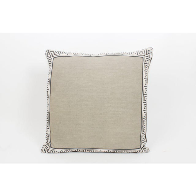 2010s Pewter Linen Greek Key Pillows, a Pair For Sale - Image 5 of 6