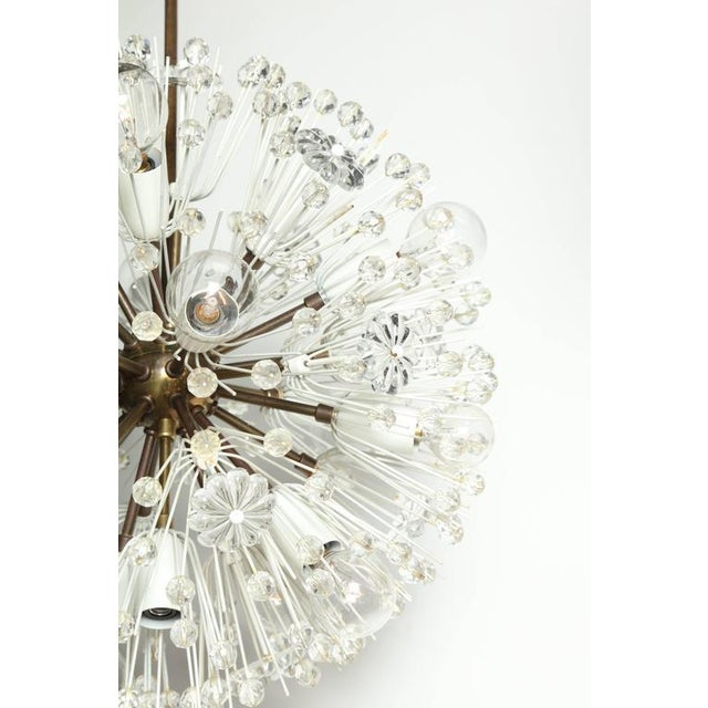 """Metal 1950s Emil Stejnar """"Snowball"""" Brass and Hand Cut Crystal Hanging Pendant For Sale - Image 7 of 10"""