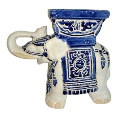 Vintage 1970's Elephant Planter Blue and White For Sale