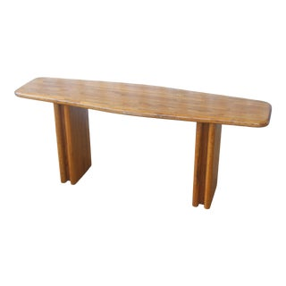 1970s Lou Hodges Style Solid Oak Console Table For Sale