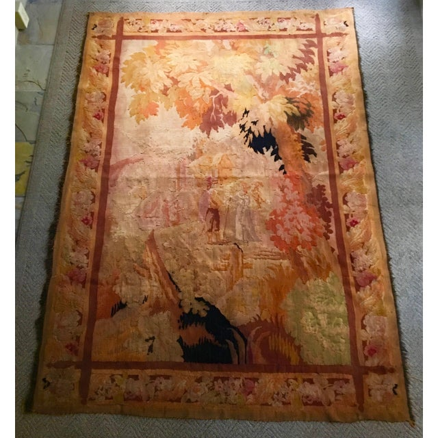 Antique Pastoral Scene Wool Tapestry For Sale - Image 10 of 10