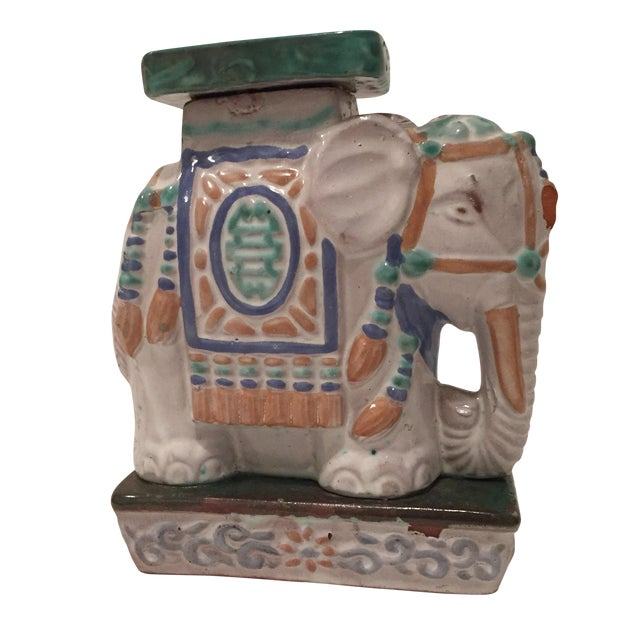 Vintage Painted Terra Cotta Elephant - Image 1 of 7