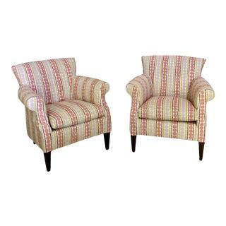Modern Club Chairs in Galbraith & Paul Candy Stripe - a Pair For Sale