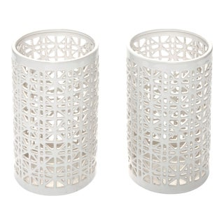 Modern Reticulated Ceramic Candle Holders For Sale