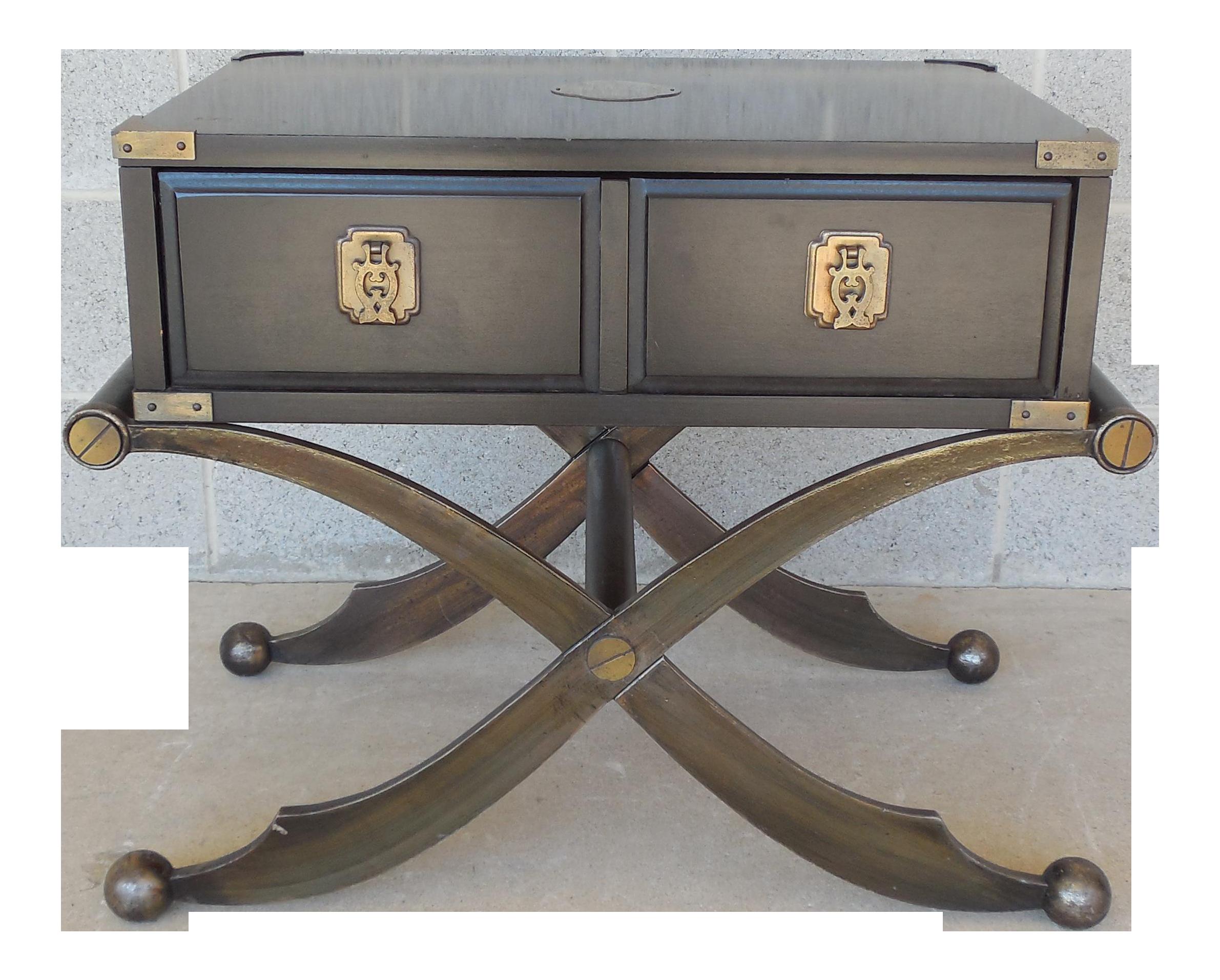 Henredon Campaign Asian Style Arabian X Base Accent Table | Chairish