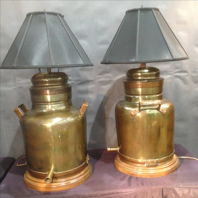 Monumental Brass Tea Canister Lamps- A Pair - Image 8 of 9