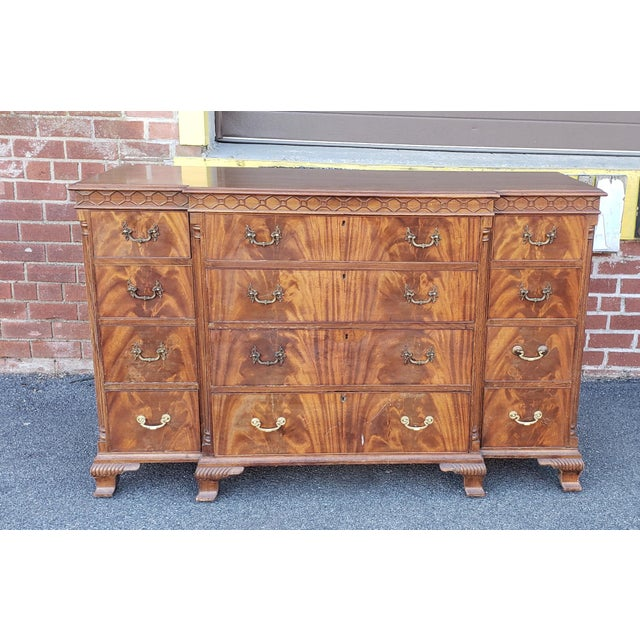 Antique 1920s W&j Sloane Flame 12 Drawer Mahogany Dresser ~ Hallway Cabinet For Sale - Image 12 of 13