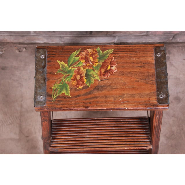 Rustic European Vintage Hand-Painted Wooden Step Ladder For Sale - Image 3 of 10