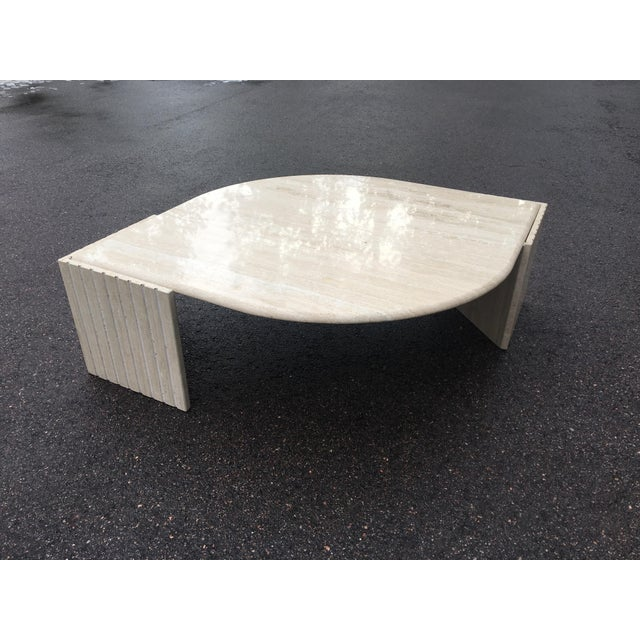 1980s 1980's Brutalist Travertine Marble Coffee Table For Sale - Image 5 of 12