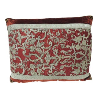 19th Century Metallic Threads Embroidery Lumbar Decorative Pillow For Sale