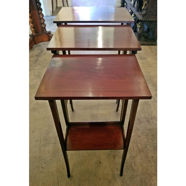 Brown Early 20c British Mahogany and Inlaid Nest of Tables For Sale - Image 8 of 13