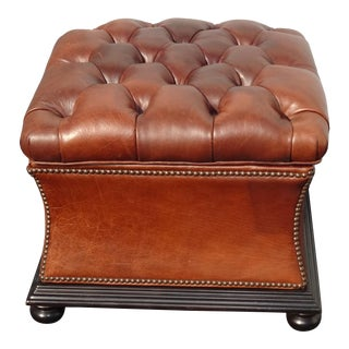 Vintage French Country Brown Leather Tufted Ottoman W Storage Compartment For Sale