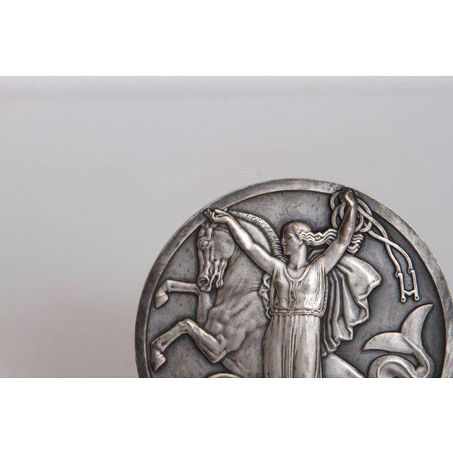 1930s Art Deco French Normandie Medallion by Jean Vernon Silvered Bronze For Sale - Image 5 of 11