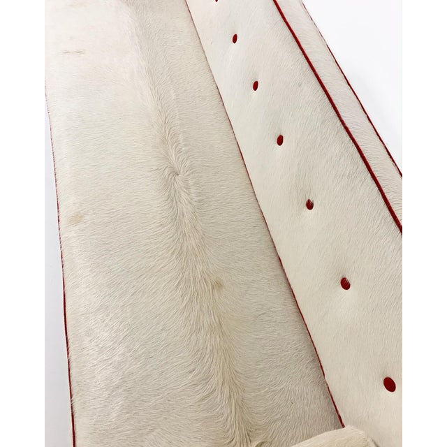 Red Vintage Edward Wormley for Dunbar Model 5316 Sofa Restored in Brazilian Cowhide With Loro Piana Red Cashmere Welting For Sale - Image 8 of 11