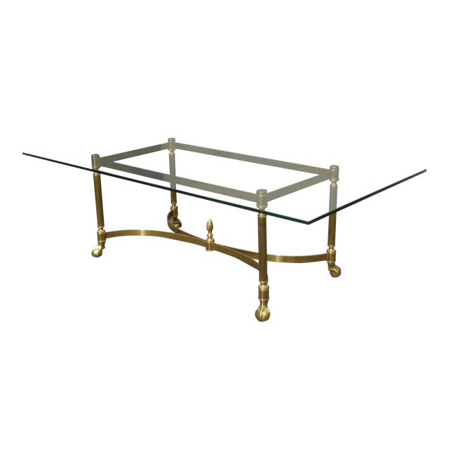 Vintage French Provincial Brass Cocktail Coffee Table W Ball Claw Feet