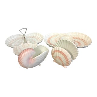 Fitz & Floyd Pink Shell Serving Dishes - Set of 4 For Sale