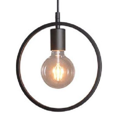 Black Wrought Iron Industrial Pendant Light - Image 1 of 2