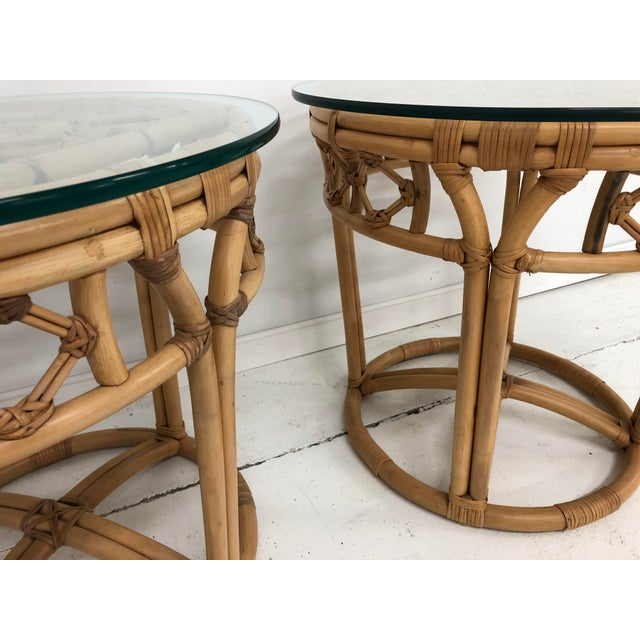 Ficks Reed Vintage Boho Chic Rattan and Reed Side Tables - a Pair For Sale - Image 4 of 11