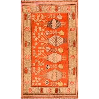 "Apadana - Antique Orange Pictorial Samarkand Rug, 5' X 8'7"" For Sale"