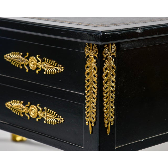 19th C Empire Style Partner's Desk With Orig Brass Fittings and New Leather Top For Sale - Image 10 of 13