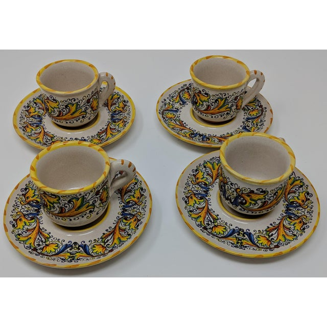 Early 21st Century Demitasse Cup & Saucer Set - Service for 4 For Sale - Image 5 of 8