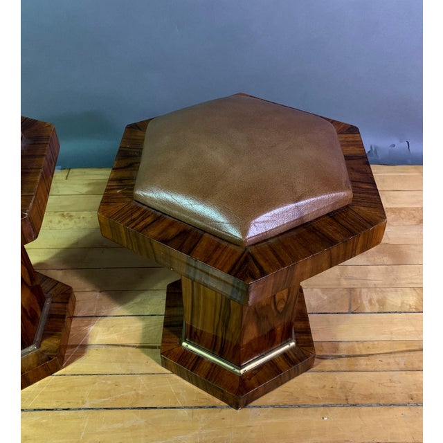 Pair Hexagonal Rosewood and Brass Stool, France 1960s For Sale - Image 4 of 11