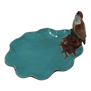 Antique Majolica Bird on Turqouise Plate