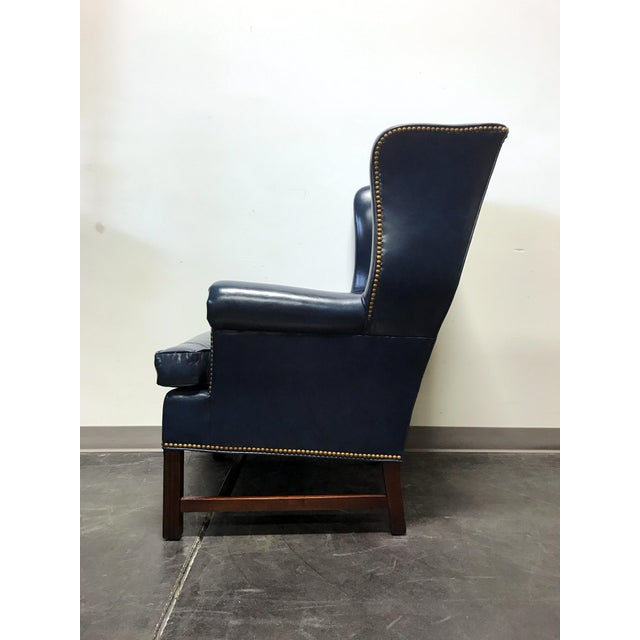 Hancock Amp Moore Navy Blue Leather Chippendale Wing Chair