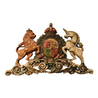 Traditional British English Royal Coat of Arms Large Architectural Element For Sale