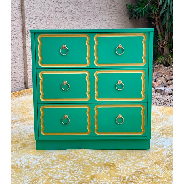Vintage Mid Century Dorothy Draper Style Three Drawer Chest For Sale In Phoenix - Image 6 of 7
