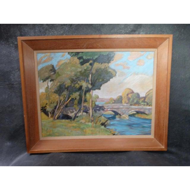 1930s Dan Burgess Landscape Painting With Bridge For Sale - Image 11 of 11