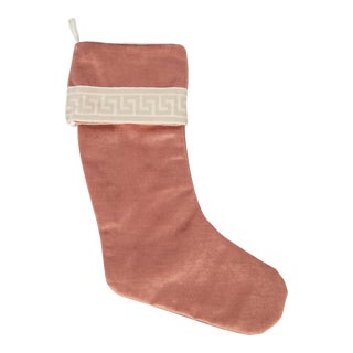 Dusty Rose Velvet and Greek Key Christmas Stocking For Sale