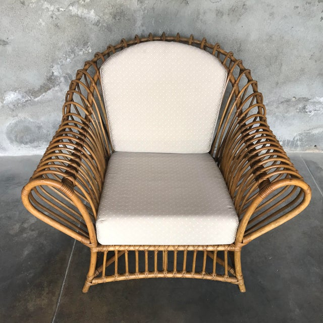 Boho Chic 1980s Vintage Rattan Lounge Chair & Ottoman For Sale - Image 3 of 13