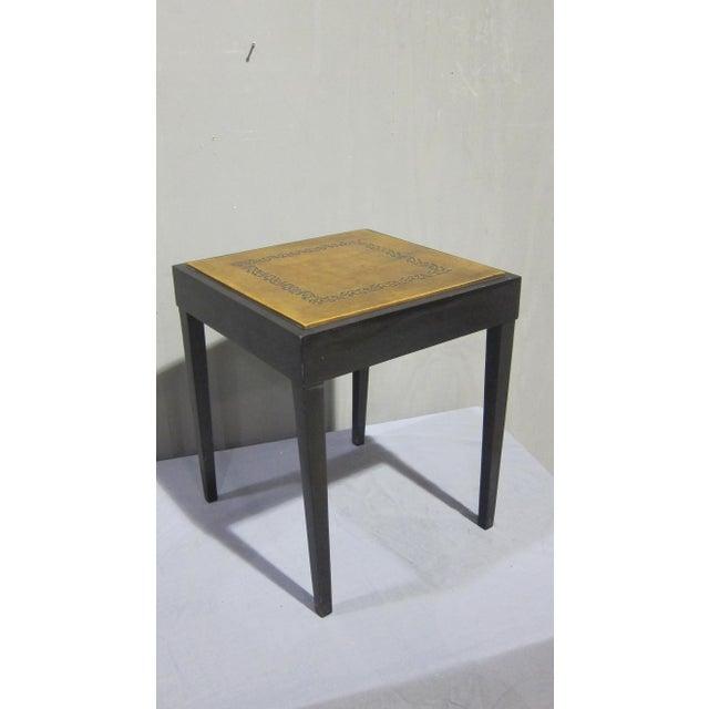 Vintage Sarreid LTD Square Leather Top Side Table - Image 2 of 5