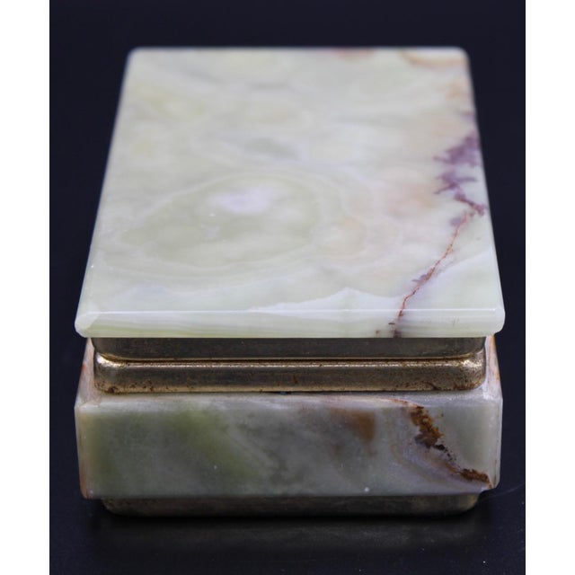 Vintage Light Green Marble Lidded Treasure Box For Sale - Image 4 of 13