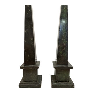 Malachite Marble Obelisks - a Pair For Sale