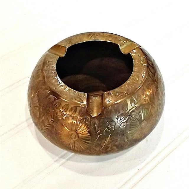 Vintage Indian Asian Chased Brass Ashtray For Sale - Image 4 of 4