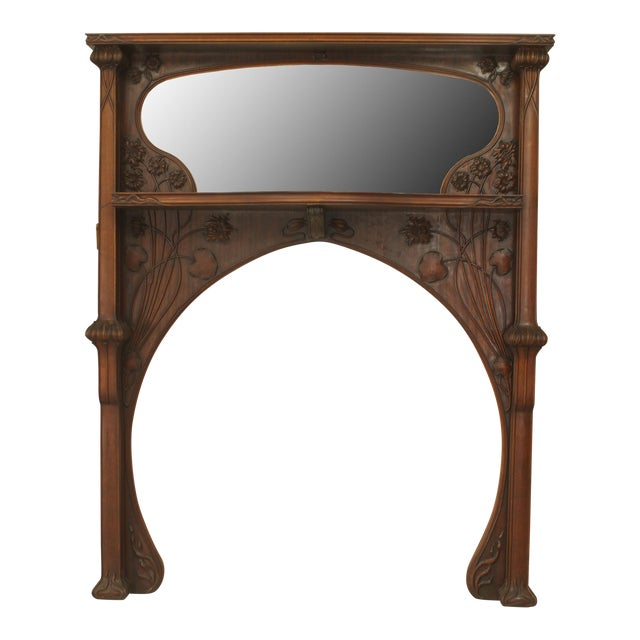 French Art Nouveau Mahogany Fireplace Mantel For Sale