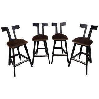 "Modern Donghia Style Lacquered ""T"" Back Barstool For Sale"