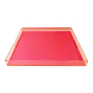 21st Century Pink Neon Lucite Cut-Out Handle Tray