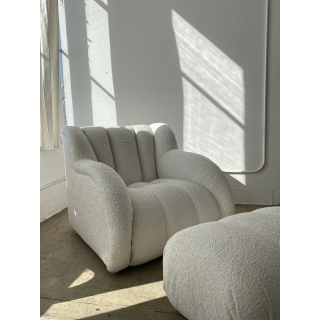 Oversized postmodern paneled clam chair & ottoman. Freshly reupholstered in Snow White bouclé. As if it wasn't perfect...