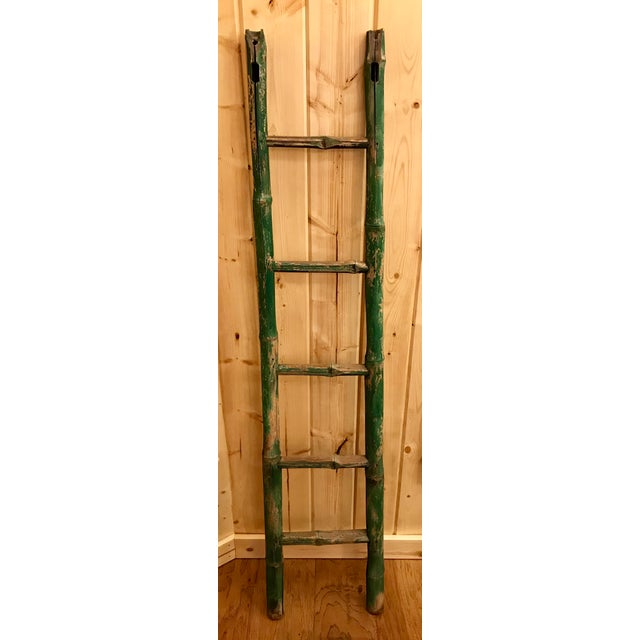 Rustic Vintage Green Chipped Paint Bamboo Ladder For Sale - Image 3 of 9