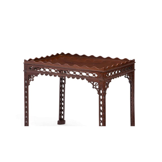 English Antique 18th C Chinese Chippendale Mahogany Fret Carved Silver Table - Therien's Private Collection For Sale - Image 3 of 5