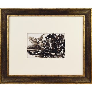 19th Century English Forrest Landscape Pen & Ink Wash Drawing For Sale