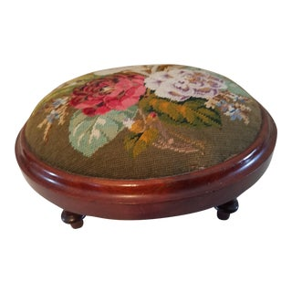 1920s Victorian Floral Army Green Needlepoint Foot Stool